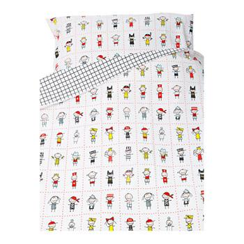 Children's Bed Set 100x130cm Cotton Busungar White/Black