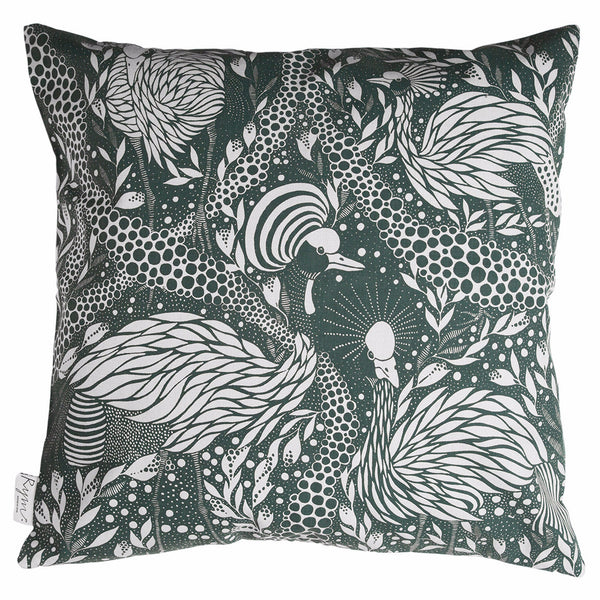 Prancing Peacock Green Cushion Cover