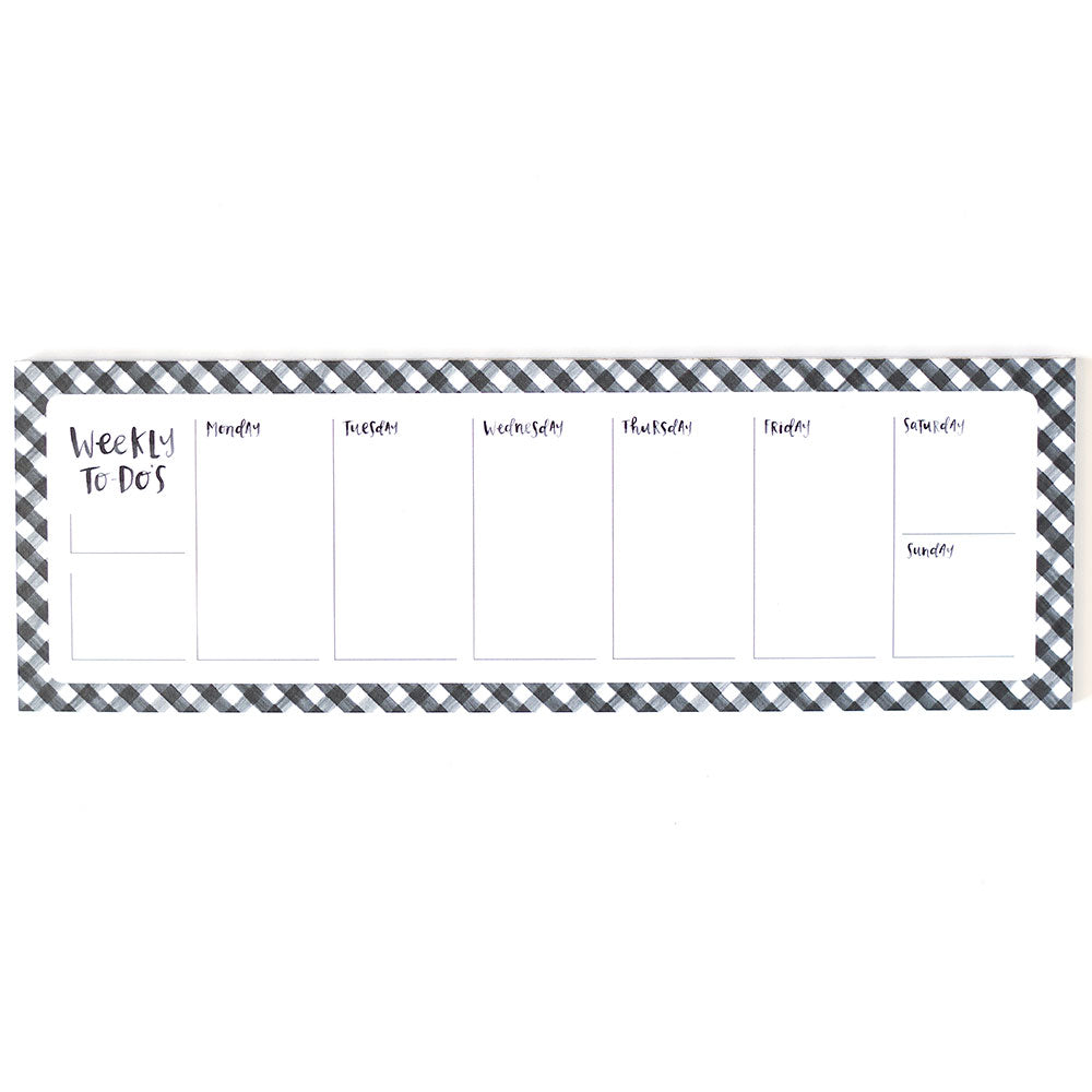 Black Gingham Weekly Notepad - Northlight Homestore