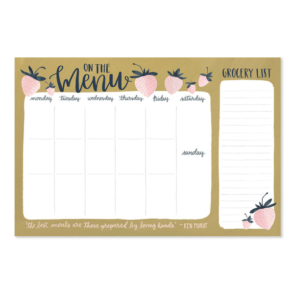 Strawberry Weekly Menu Notepad - Northlight Homestore