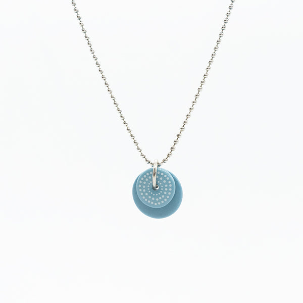 Circle Dot Blue Porcelain Necklace
