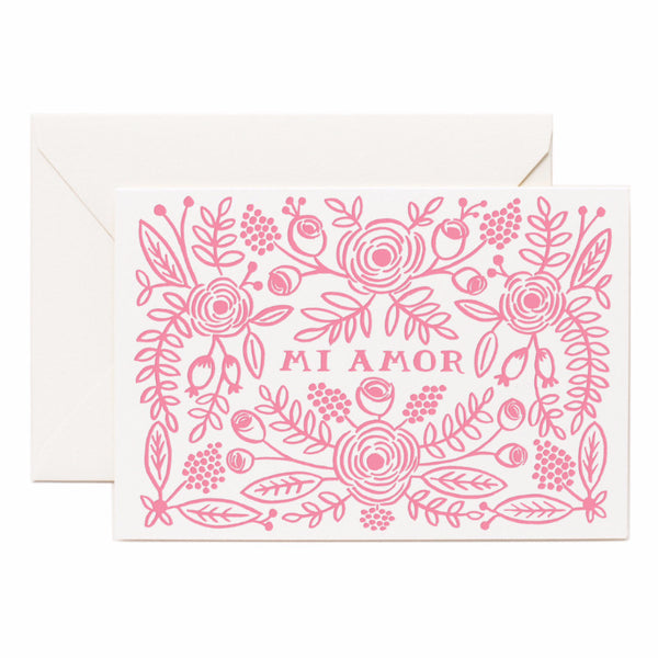 Letterpress Mi Amor Card - Northlight Homestore