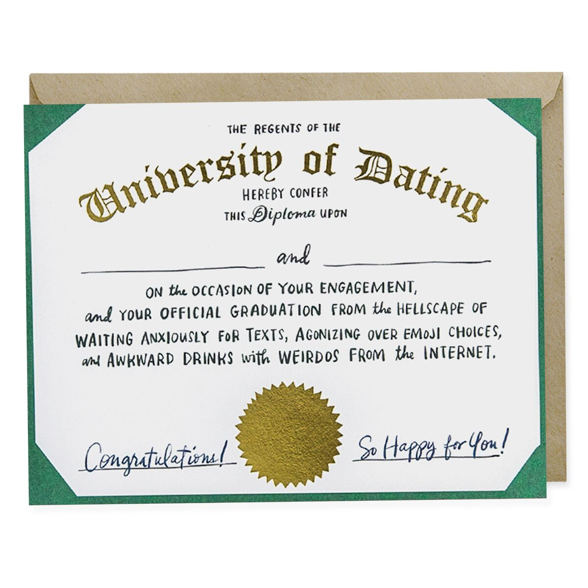 Dating Diploma Engagement Card
