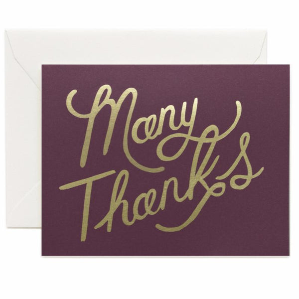 Burgundy Foil Thank You Card - Northlight Homestore