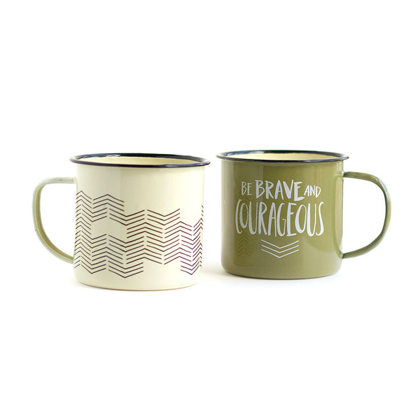 Brave & Courageous Campfire Mugs, Set of 2 - Northlight Homestore