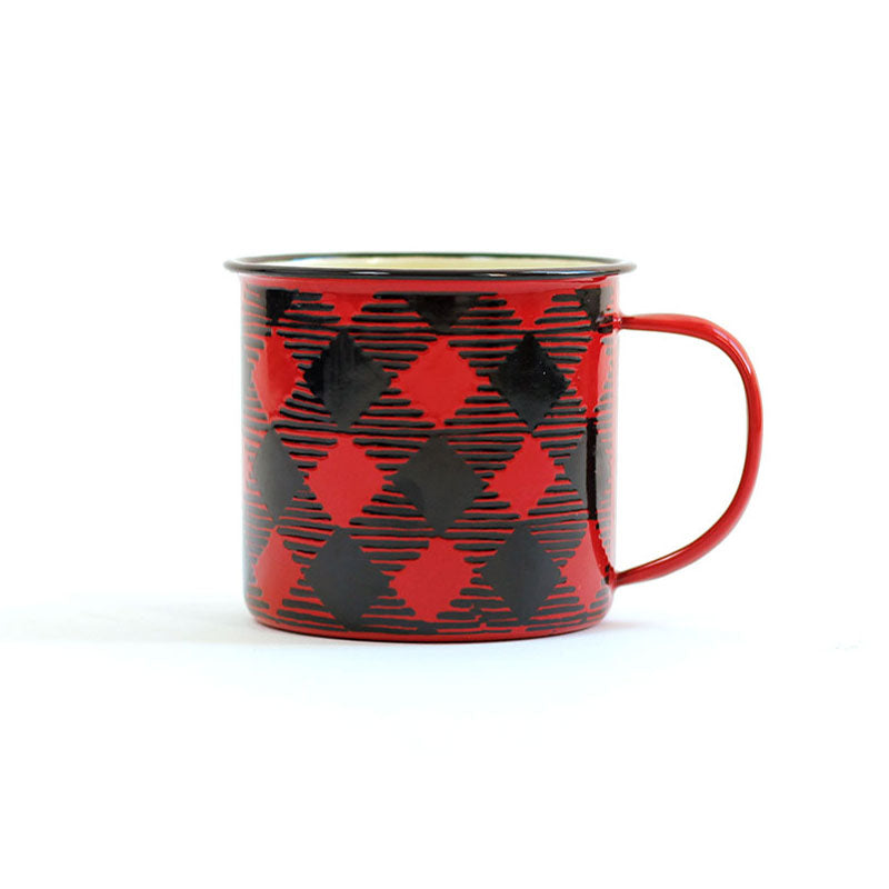 Red Buffalo Plaid Enamel Mug