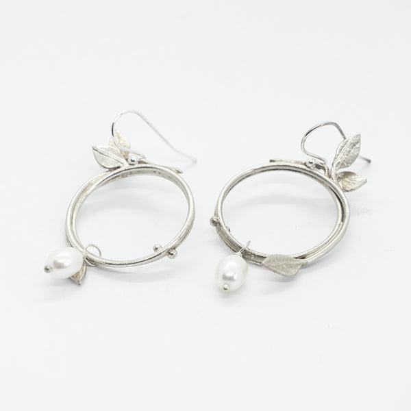 Vine Silver and White Pearl Earrings