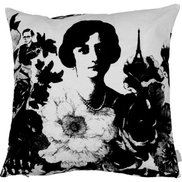 Mademoiselle Black 48x48cm Linen/Cotton Cushion Cover