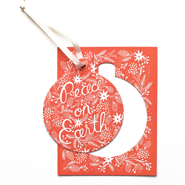 Boxed Set Berry Peace on Earth Ornament - 6 Cards - Northlight Homestore