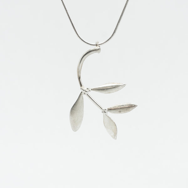 Olive Leaves Silver Necklace