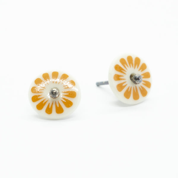 Bloom Petal Orange Porcelain Stud Earrings