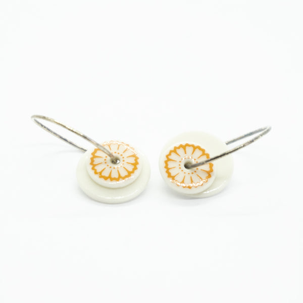 Bloom Orange Porcelain Hoop Earrings