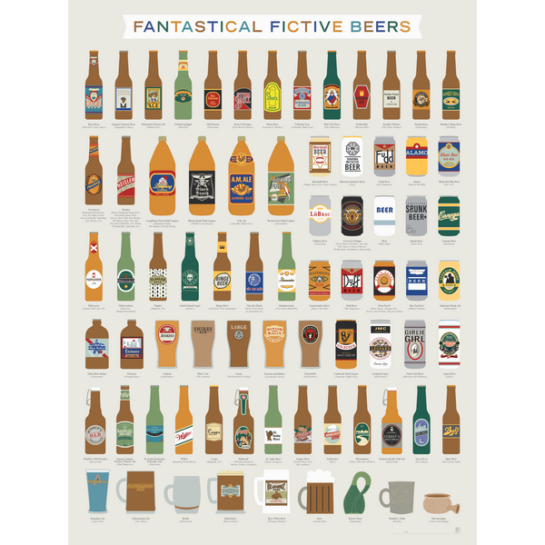 "Fantastical Fictive Beers Art Print 18"" x 24"""