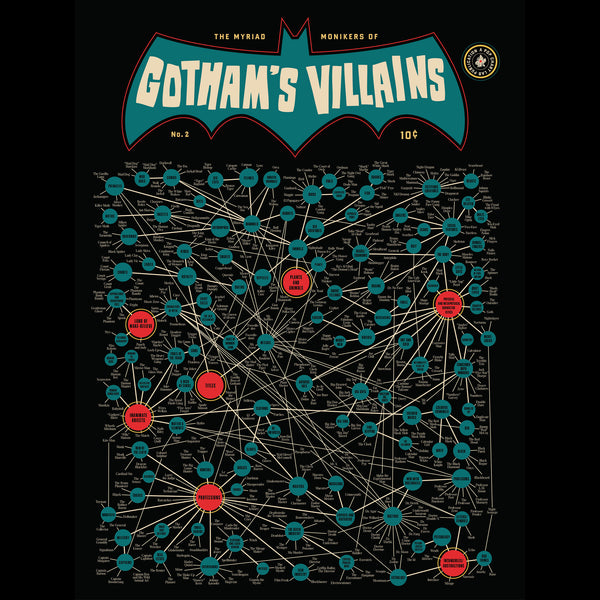 "The Myriad Monikers Of Gotham's Villains 2.0 Art Print 12"" x 16"""