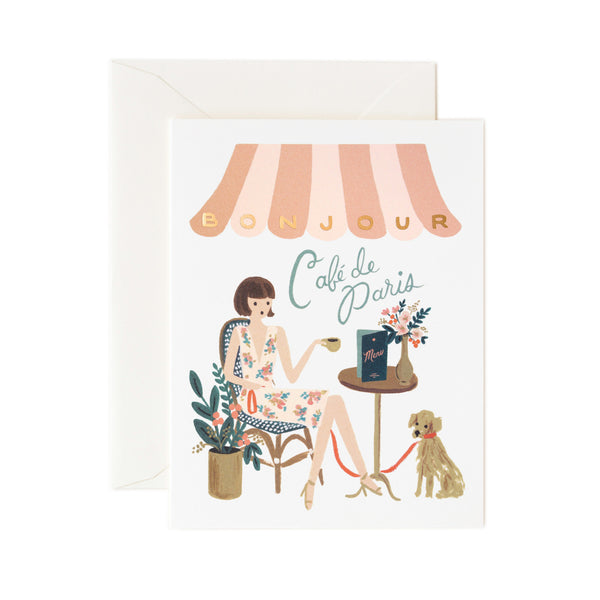 Paper Crown Bonjour Cafe Card