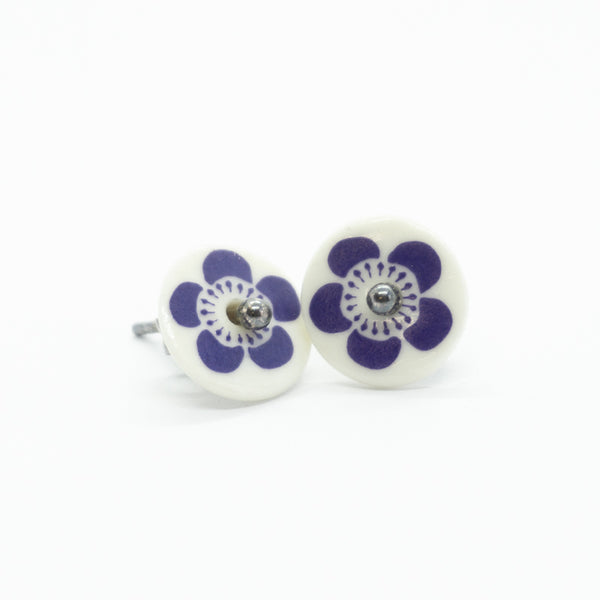 Bloom Purple Porcelain Stud Earrings