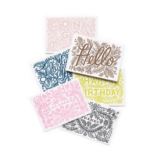 Assorted Letterpress - 6 Card Set