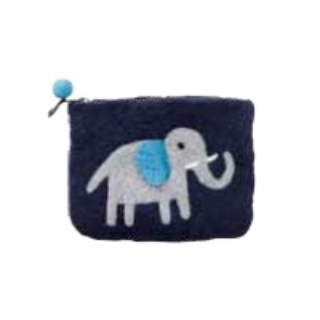 Elephant Blue Felt Purse