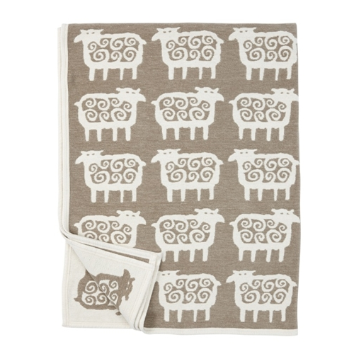 Black Sheep Beige Cotton Blanket - Northlight Homestore