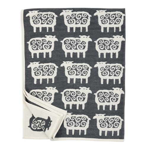 Black Sheep Dark Grey Cotton Blanket - Northlight Homestore