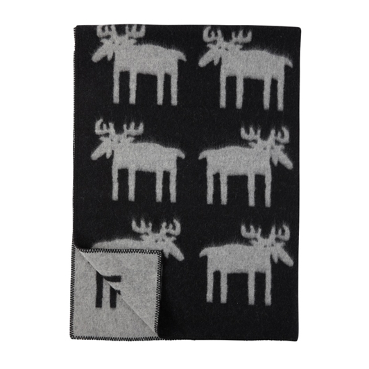 Moose Black Wool Blanket - Northlight Homestore