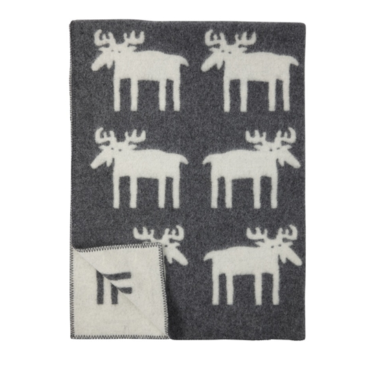 Moose Grey Wool Blanket