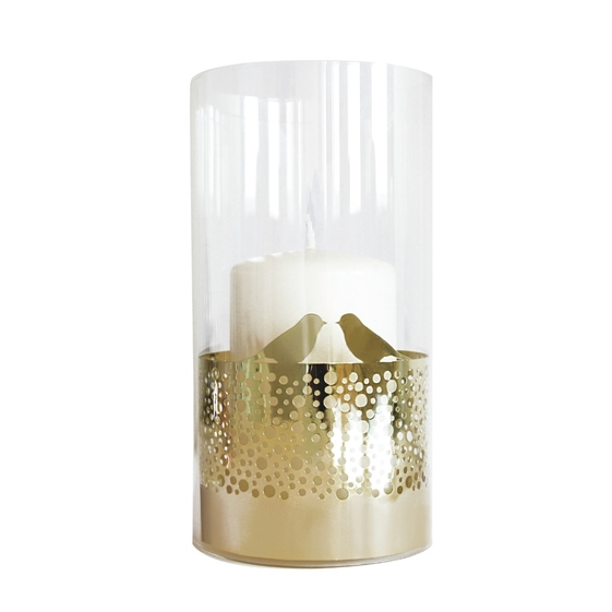 Gold Bird Dots Pattern Candle Holder