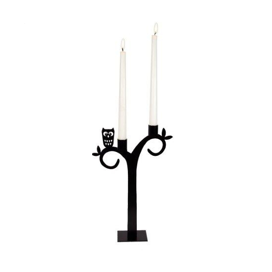Owl Black Candle Holder - Northlight Homestore