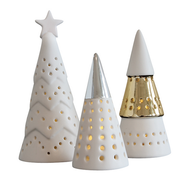Ceramic Tree Group LED Decoration
