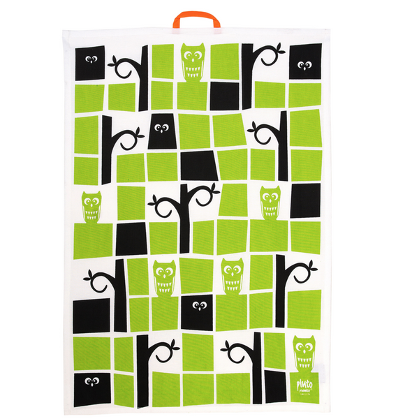 Owl & Tree Lime Tea Towel