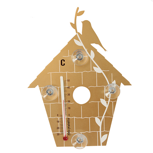 Bird House Gold Thermometer