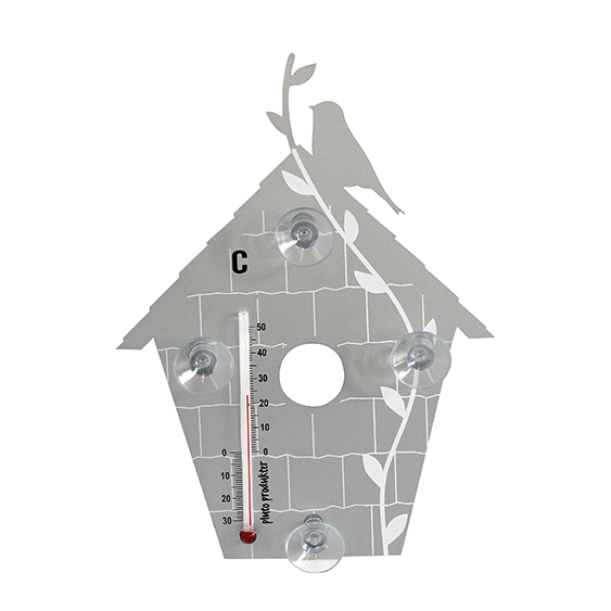 Bird House Silver Thermometer