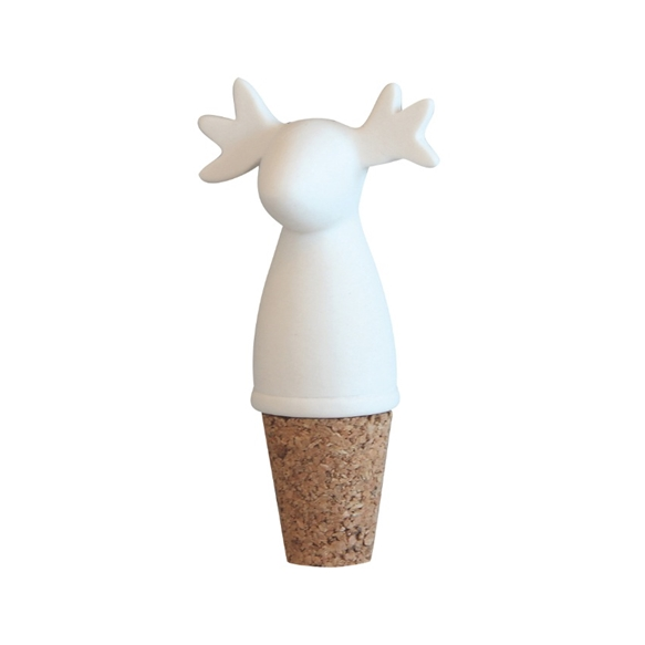 Moose White Bottle Stopper