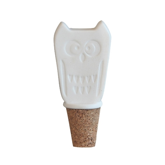 Owl White Bottle Stopper