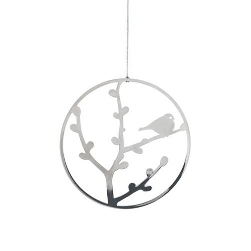 Deco Robin Silver Decoration