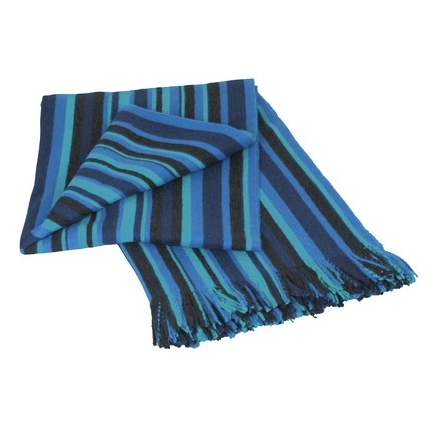 Stripe Blue 100% Baby Alpaca Throw