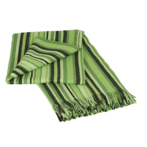 Stripe Green 100% Baby Alpaca Throw - Northlight Homestore