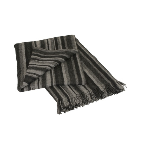 Stripe Grey 100% Baby Alpaca Throw