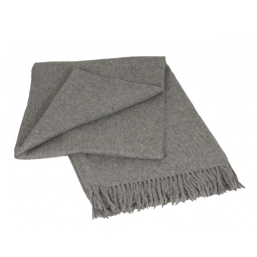 Classic Light Grey Alpaca Blend Throw - Northlight Homestore