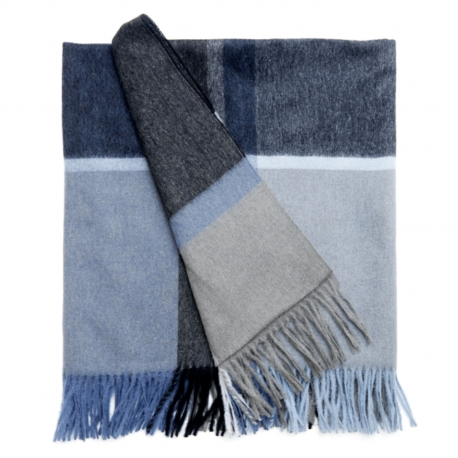 Manhattan Steel Blue/Dusty Ocean Alpaca Blend Throw - Northlight Homestore