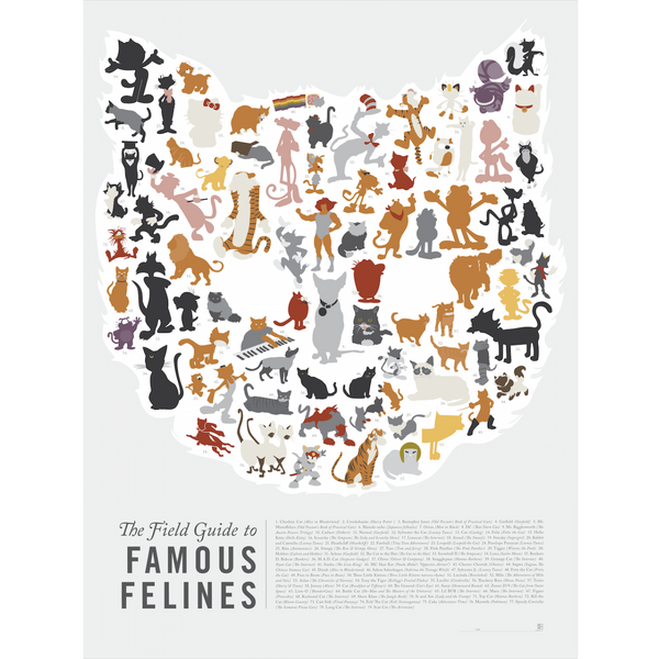 "The Field Guides to Famous Felines Art Print 18"" x 24"""