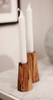 Non-Eternal Flame Olive Wood Candle Holder - Available in 3 sizes