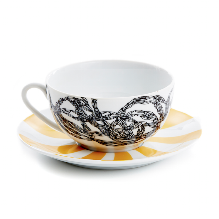 Afternoon Delight Hypnotique Wheat Tea Cup/Saucer - Northlight Homestore