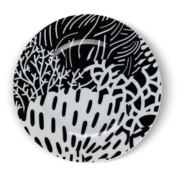 Shrubs and Thickets Black Cake Plate - Northlight Homestore