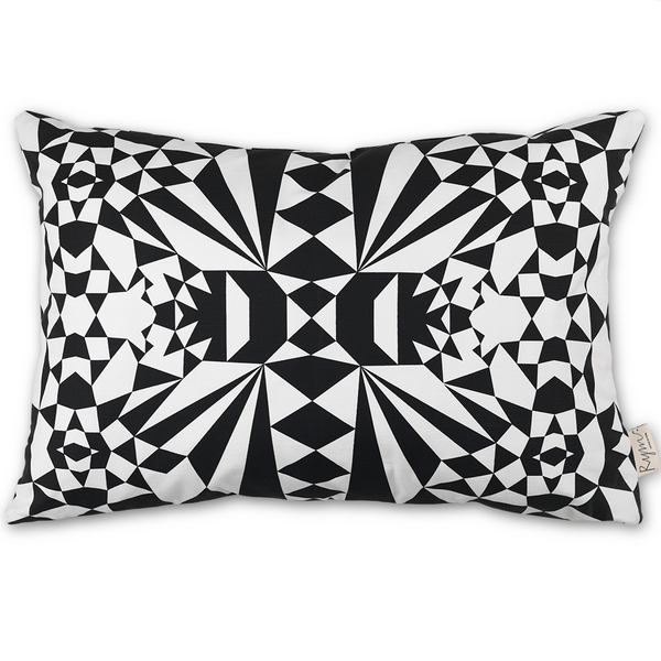 Merry Mosaics/Black Cushion Cover