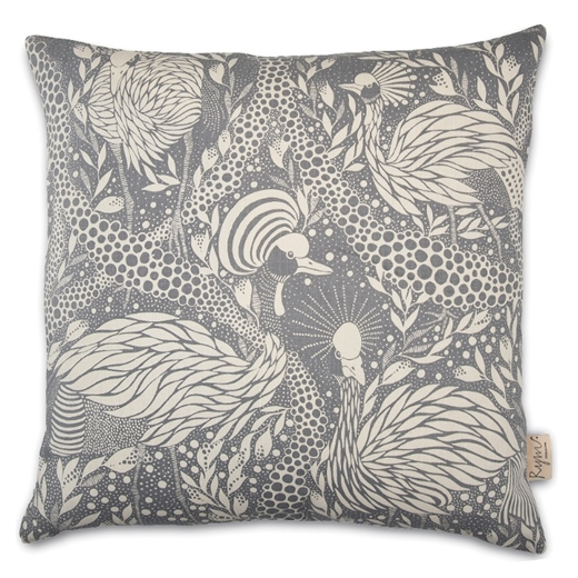 Prancing Peacock Grey Cushion Cover