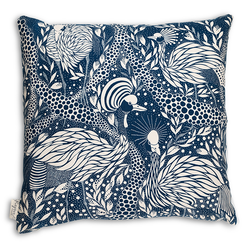 Prancing Peacock/Blue Cushion Cover