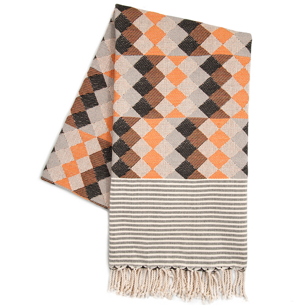 Commedia Dell'arte Orange and Grey Go Undercover Blanket - Northlight Homestore