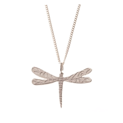 Silver Dragonfly Pendant With Chain