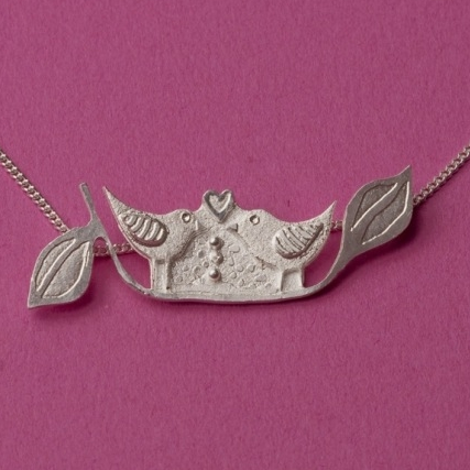 Silver Love Birds Pendant With Chain